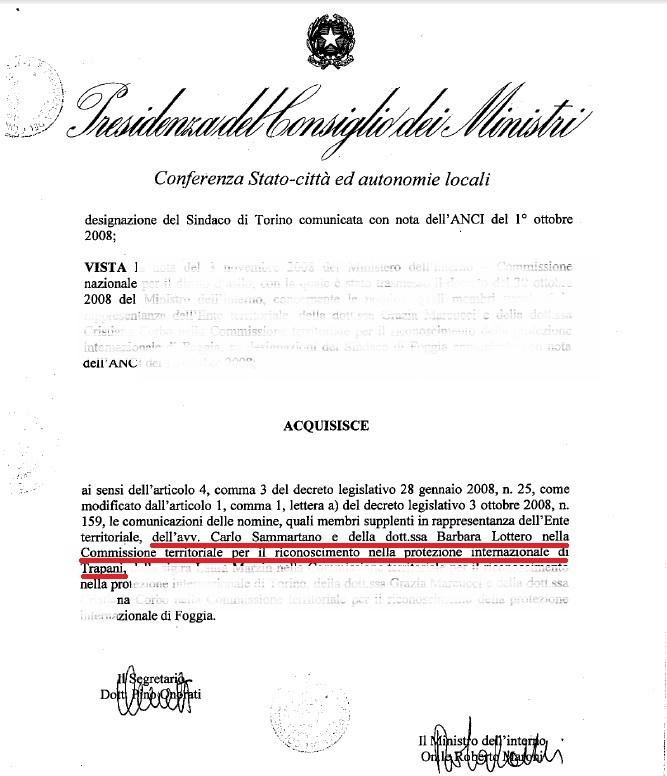 Verbali commissione riconoscimento protezione internazionale