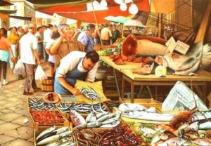 Dipinto di Pippo Foti Mercato della Vucciria