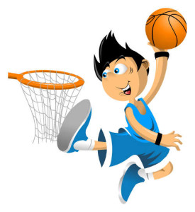 Color illustration. Basketball player throws the ball in the basket;