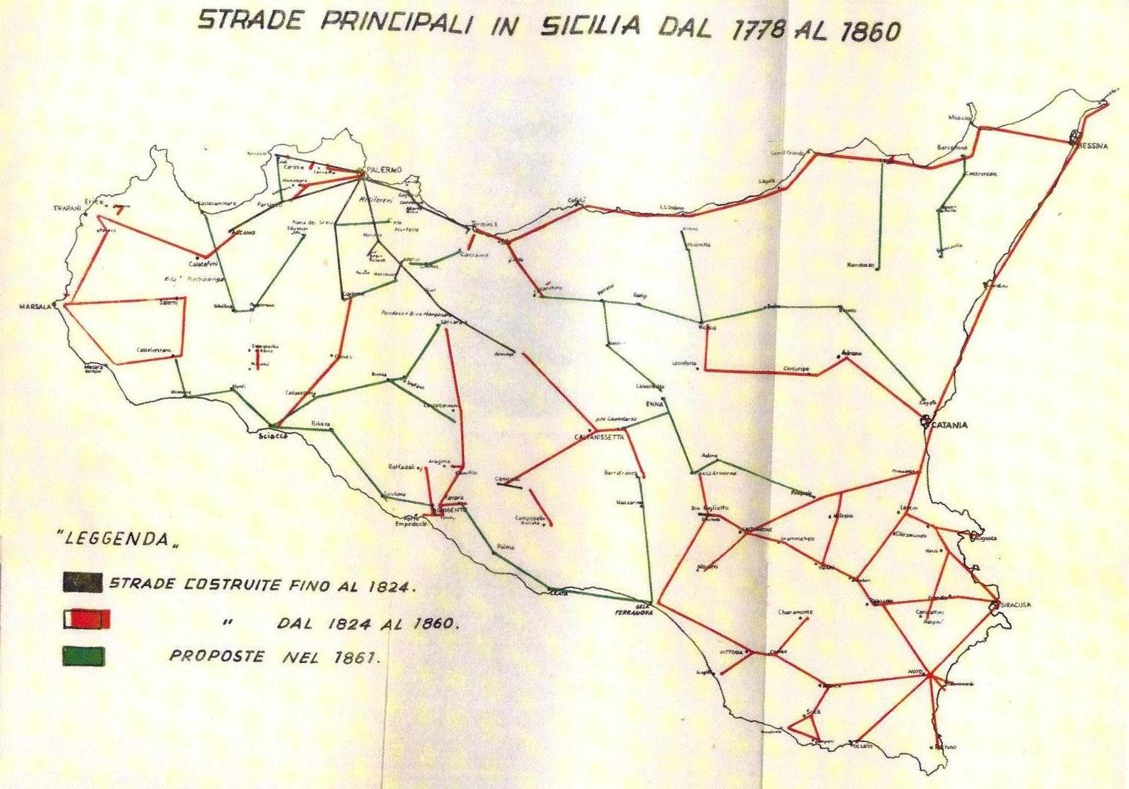 trazzere strade sicilia 1700