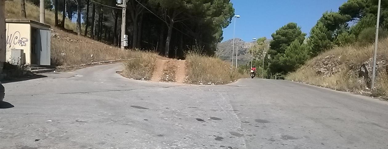Bivio: all'altezza del sentiero per il Castello; a sinistra la strada per S. Martino delle Scale, a desta stradella che arriva in cima della montagna.